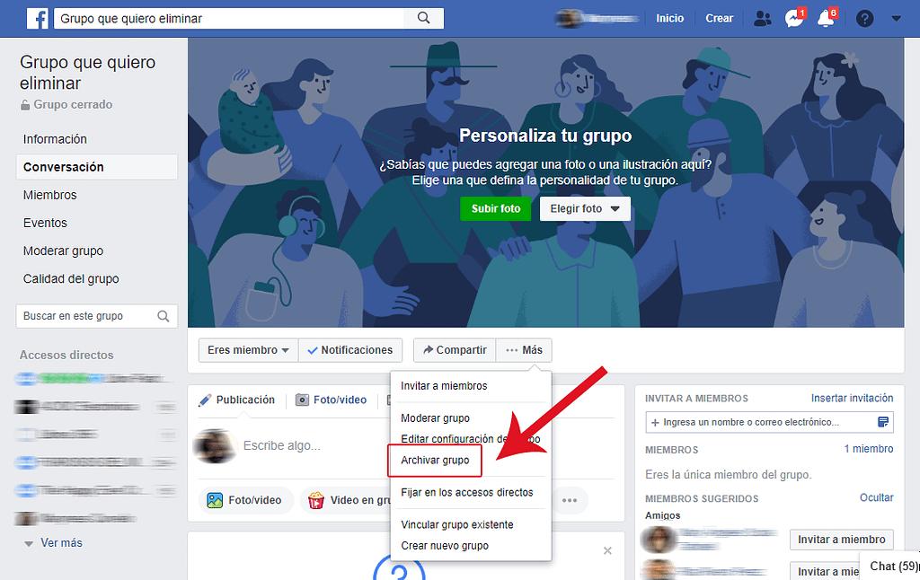 PASO 1 como archivar un grupo de facebook
