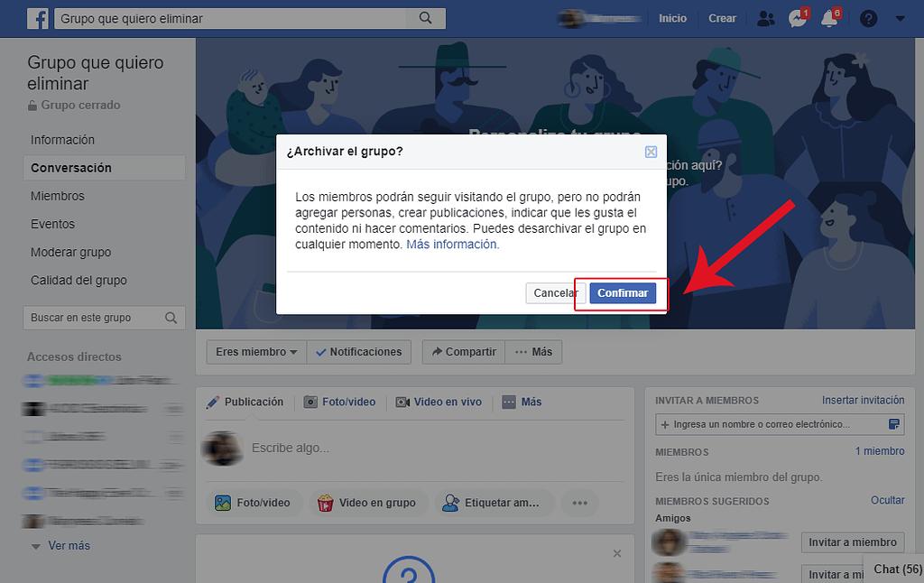 PASO 2 como archivar un grupo de facebook