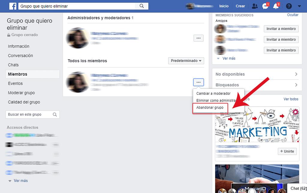 """Por último, clicá en los tres puntos junto a tu nombre y luego en """"Abandonar grupo"""" para borrar un grupo de Facebook"""