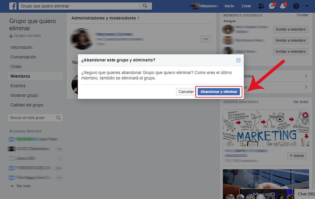PASO 5 como borrar un grupo de facebook