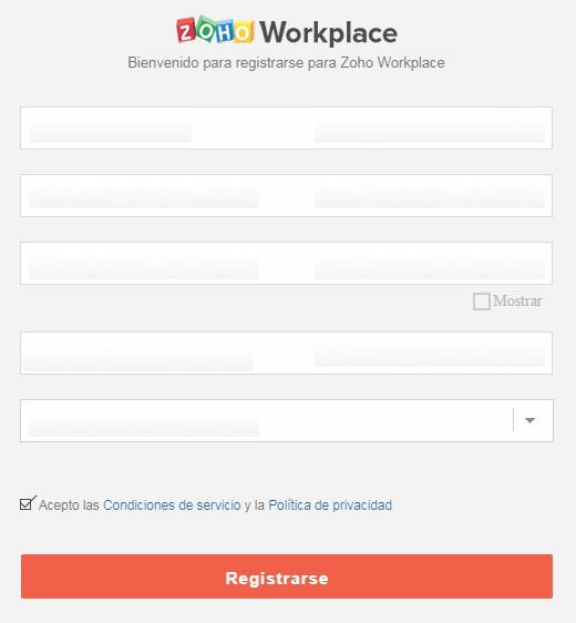 Registro Zoho Workplace 1