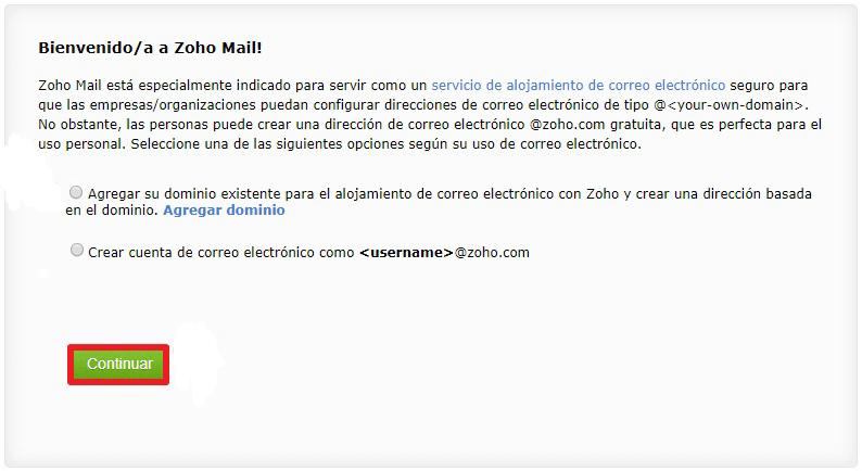 Agregar Dominio a Zoho Mail